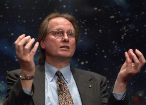 NASA Spitzer Telescope Science Update where major findings were announced about planets outside our solar system, known as extrasolar planets. Dr. Alan Boss, staff research astronomer, Department of Terrestrial Magnetism, Carnegie Institution of Washington explains science results during the NASA Science update. Tuesday, March 22, 2005. Photo Credit: