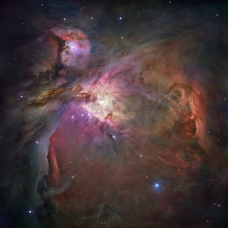 In one of the most detailed astronomical images ever produced, NASA/ESA's Hubble Space Telescope captured an unprecedented look at the Orion Nebula. ... This extensive study took 105 Hubble orbits to complete. All imaging instruments aboard the telescope were used simultaneously to study Orion. The Advanced Camera mosaic covers approximately the apparent angular size of the full moon. Image credits : NASA, ESA, M. Robberto (Space Telescope Science Institute/ESA) and the Hubble Space Telescope Orion Treasury Project Team