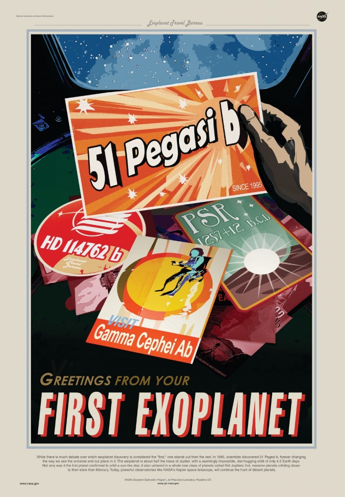 Recent art poster from the 'Exoplanet travel Bureau', an outreach campaign by NASA's JPL. In this poster, all planets contending to be the first ever detected exoplanet are featured. Credits : NASA/JPL