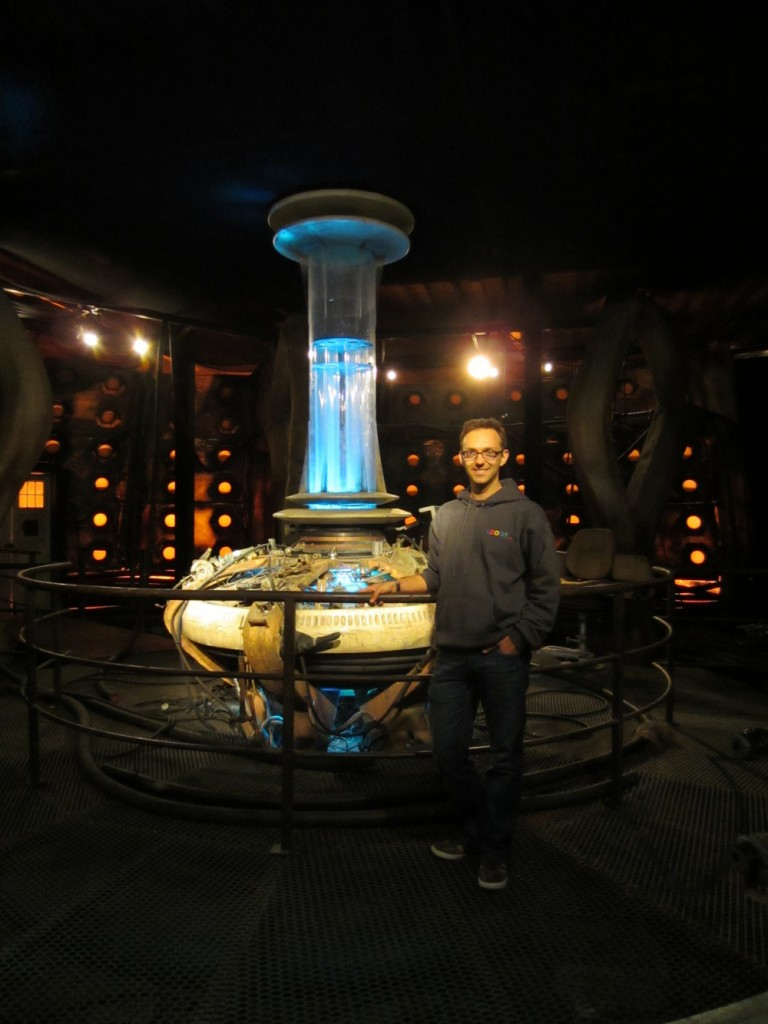 Eduard Gomez inside the TARDIS. It is a device from the BBC's 'Dr. Who' TV show which is both a time-machine and a starship; but it looks like a classic British telephone booth from the outside.