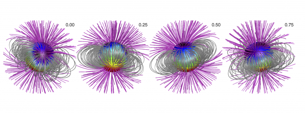 The extended magnetic field topology map for the Ap star HD 32633, the number in the right hand corner is the phase of rotation.