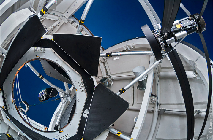 The camera is positioned near the 2.4-meter primary mirror in the dome of the Automated Planet Finder Telescope at Lick Observatory. At upper right is the secondary mirror. APF is fully robotic, and equipped with a high-resolution spectrograph (designed by Steve Vogt) optimized for precision Doppler measurements. Laurie Hatch 2009 (c), www.lauriehatch.com