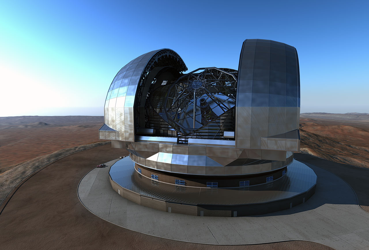 This very detailed new artist's rendering shows the European Extremely Large Telescope (E-ELT) in its dome on Cerro Armazones, close to ESO's Paranal Observatory in northern Chile. The design shown here is close to the final one, but some small changes are expected.