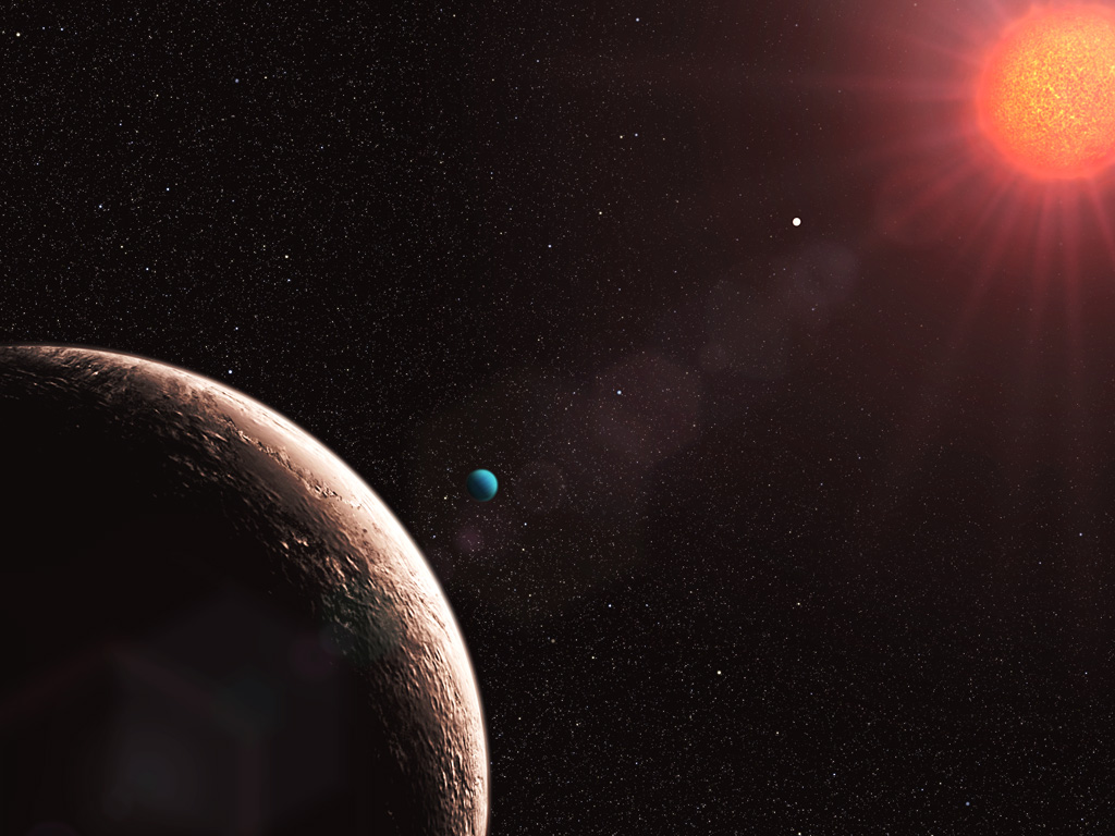 Artist's impression of a habitable planet around a red dwarf star (credit ESO/L. Calçada).