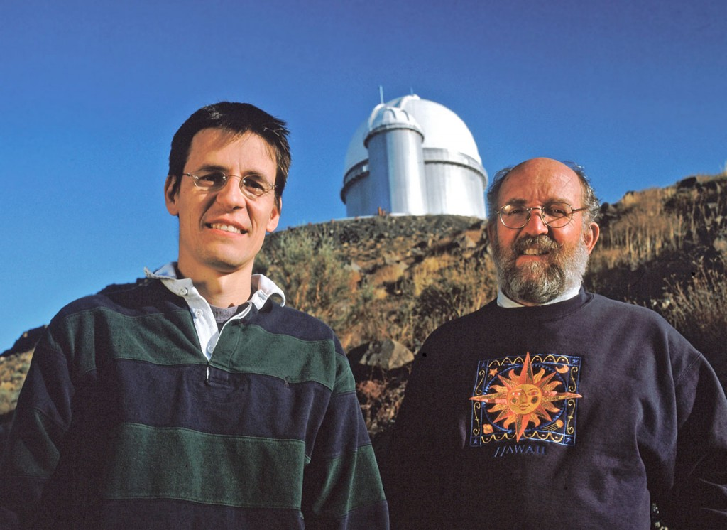World-renowned Swiss astronomers Didier Queloz and Michel Mayor of the Geneva Observatory are seen here in front of ESO's 3.6-metre telescope at La Silla Observatory in Chile. The telescope hosts HARPS, the world's leading exoplanet hunter. Image credits : L. Weinstein/Ciel et Espace Photos/ESO