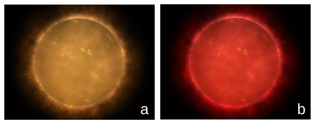 Figure 2: Artist's conception of a red dwarf star as seen from close proximity. It is thought that the hotter red dwarfs may actually look more orange than red due to the human eye's enhanced sensitivity to yellow light (a), whereas the cooler red dwarfs most likely would appear bright red. Figure credit: Walt Feimer/NASA.