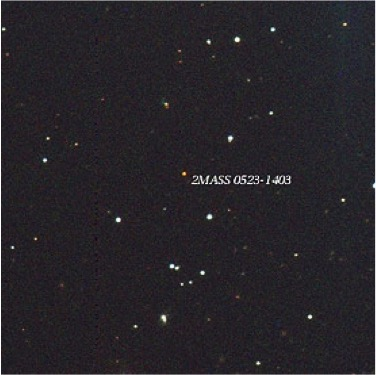 Figure 4: The smallest known star, 2MASS J0523-1403, as seen with the Cerro Tololo 0.9 meter telescope is shown using a color scheme that approximates its true color.