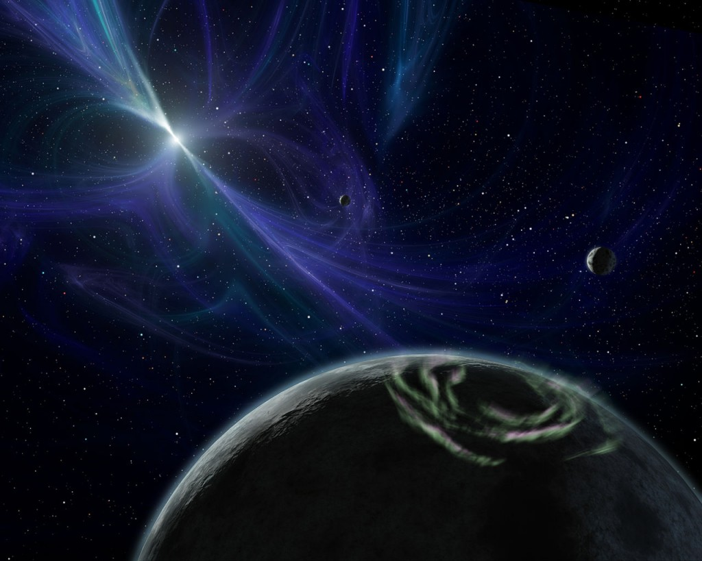 Artists impression of extrasolar planets in the pulsar, PSR B1257+12. NASA/JPL-Caltech/R. Hurt (SSC) - http://photojournal.jpl.nasa.gov/catalog/PIA08042